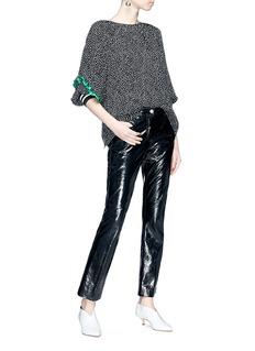 Tibi 'Martine' ruffle trim asymmetric cuff speckle print top