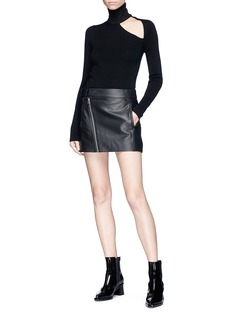 Dion Lee Leather mini biker skirt
