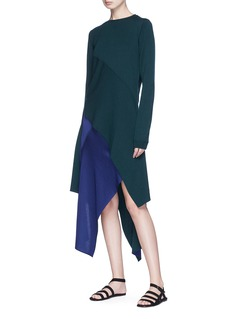Rosetta Getty Asymmetric reversible chenille knit midi skirt