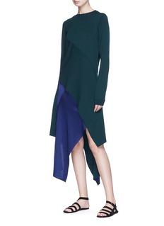 Rosetta Getty Asymmetric tiered chenille knit dress