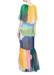 Rosetta Getty Colourblock tiered ruffle silk chiffon maxi dress