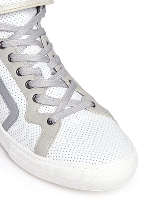 Detail View - Click To Enlarge - Pierre Hardy - 'Les Baskets' perforated leather high top sneakers