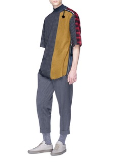 Indice Studio 'Tamtam' patchwork check plaid zip shoulder T-shirt