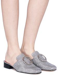 Dorateymur 'Petrol' oversized ring glitter lurex slide loafers