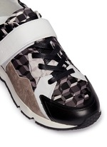 'Comet' camouflage cube print leather sneakers