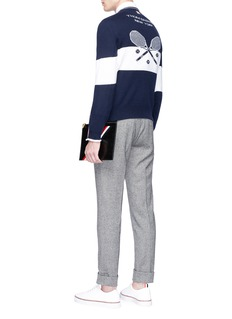 Thom Browne Tennis racket intarsia stripe cashmere sweater