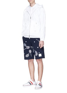Thom Browne Tennis racket embroidered sweat shorts