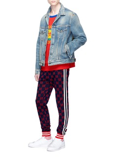 GUCCI GG Supreme品牌logo提花侧条纹纯棉休闲裤