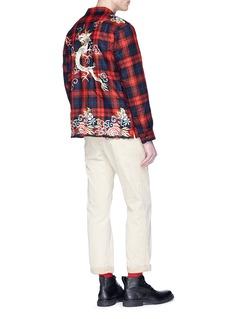 GUCCI 花卉彩龙刺绣羊毛格纹衬衫