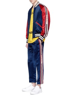 Gucci Logo jacquard outseam satin jogging pants