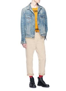 GUCCI 做旧品牌名称露踝裤