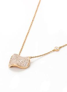 Anyallerie 'Rose Petal' diamond 18k rose gold pendant necklace