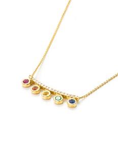 Khai Khai 'Crown' diamond gemstone 18k rose gold bar pendant necklace