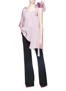 Valentino Asymmetric ruffle satin top