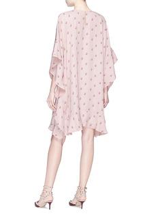 VALENTINO 花卉印花和服式真丝连衣裙