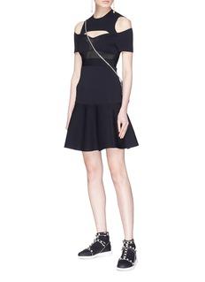 Valentino Mesh panel cold shoulder peplum dress