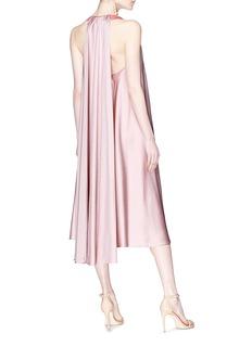 Valentino Sash drape back colourblock satin halterneck dress