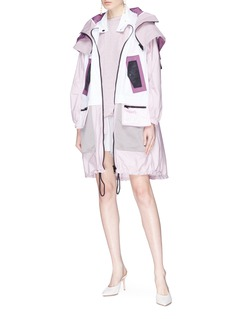 Valentino Layered colourblock patchwork hooded jacket