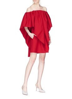 Valentino Ruffle layered virgin wool off-shoulder dress