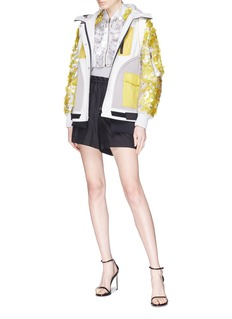 Valentino Paillette embellished colourblock cropped bomber jacket