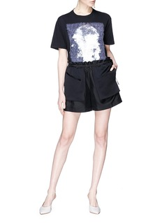 Valentino Drawstring layered paperbag schappe shorts