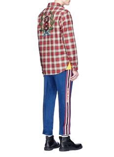 Gucci Snake appliqué tartan plaid shirt