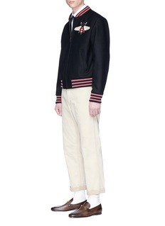 Gucci Bee appliqué wool bomber jacket