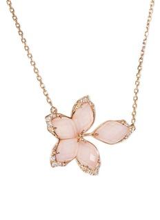 Stephen Webster Crystal Haze diamond 18k rose gold floral pendant necklace