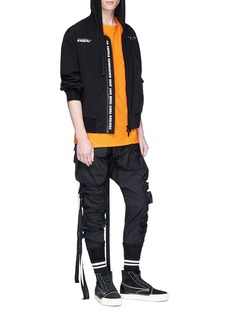 Ben Taverniti Unravel Project  Logo print hooded windbreaker jacket
