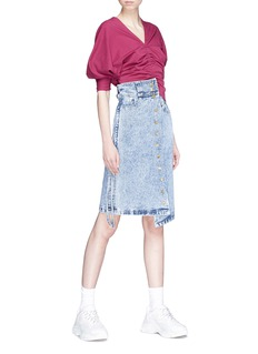 Ground Zero Puff sleeve ruched front reversible cropped top