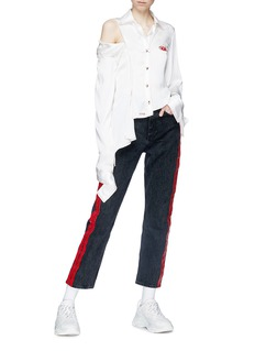 Ground Zero Cutout shoulder asymmetric silk satin shirt