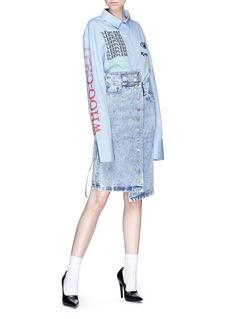 Ground Zero Drawstring side asymmetric denim skirt