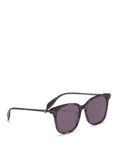 Alexander McQueen Skull stud metal temple acetate square sunglasses