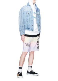 Palm Angels 'Gothic Rainbow' logo print sweat shorts