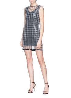 Helmut Lang Check plaid cellophane overlay dress