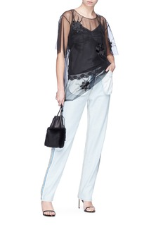 Helmut Lang Orchid embroidered organdy overlay camisole top