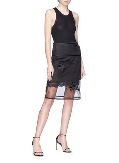 Helmut Lang Orchid embroidered organdy overlay skirt