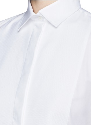 Detail View - Click To Enlarge - Valentino - Bib peplum cotton dress shirt