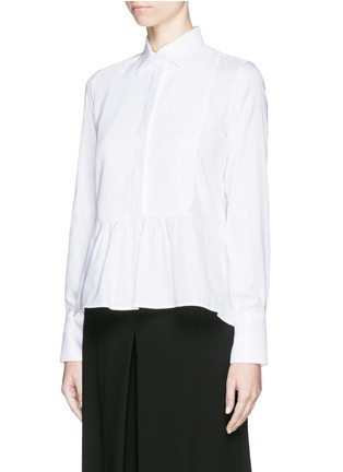 Front View - Click To Enlarge - Valentino - Bib peplum cotton dress shirt