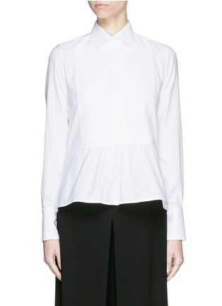 Main View - Click To Enlarge - Valentino - Bib peplum cotton dress shirt