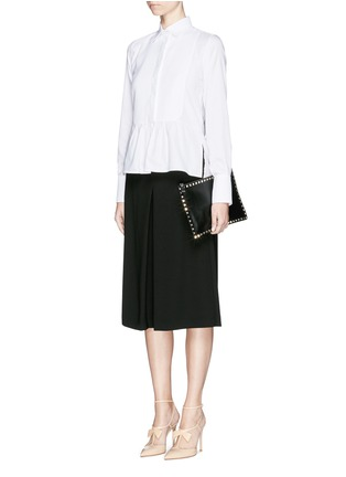 Figure View - Click To Enlarge - Valentino - Bib peplum cotton dress shirt