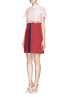 VALENTINOBow collar floral lace bodice dress