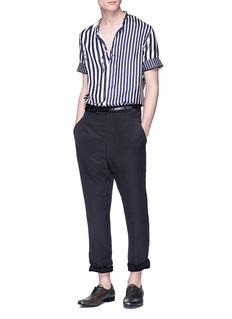 Haider Ackermann Mandarin collar stripe short sleeve skill shirt