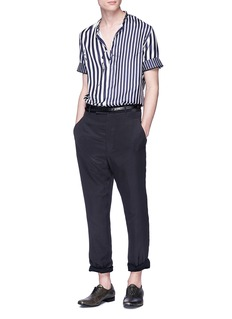 HAIDER ACKERMANN 小立领撕破效果条纹真丝衬衫