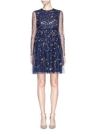 Main View - Click To Enlarge - Valentino - Cosmos mirror embroidery tulle dress