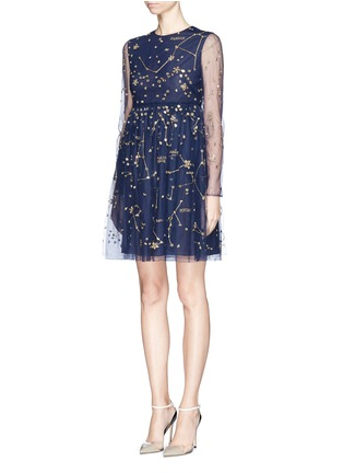 Figure View - Click To Enlarge - Valentino - Cosmos mirror embroidery tulle dress