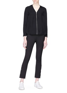 rag & bone 'Vanessa' rib knit panel zip twill blouse