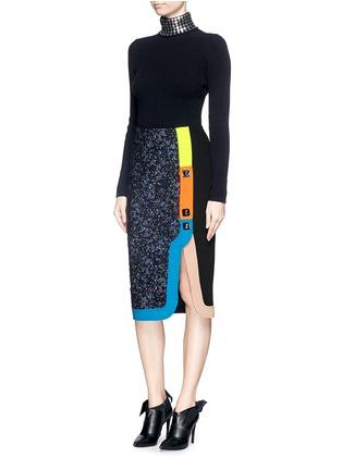 Figure View - Click To Enlarge - Peter Pilotto - 'Ludo' pinball stripe tweed bouclé skirt
