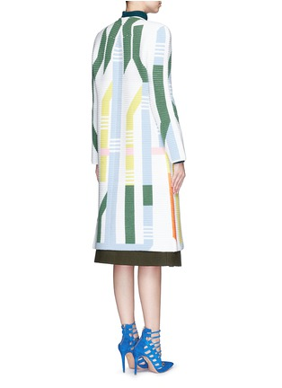 Back View - Click To Enlarge - Peter Pilotto - 'Track' abstract stripe knit coat