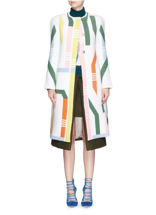 Main View - Click To Enlarge - Peter Pilotto - 'Track' abstract stripe knit coat